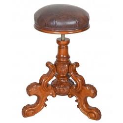 Scaun deosebit din lemn mahon cu tapiterie maro