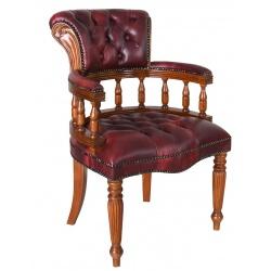 Scaun Chesterfield din lemn mahon cu tapiterie din piele burgund