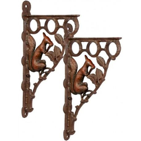 Set de console din fier forjat de perete cu veverite