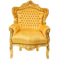 Fotoliu baroc din lemn masiv auriu cu tapiterie aurie