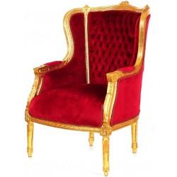 Fotoliu auriu baroc cu picioare deosebite si tapiterie rosie
