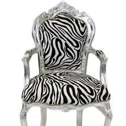 Semifotoliu  baroc din lemn masiv argintiu cu tapiterie zebra