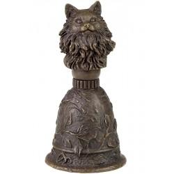 Clopot de bronz de mana cu o pisica