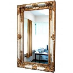 Oglinda monumentala cu rama alba cu auriu