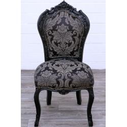 scaun baroc din lemn masiv negru cu tapiterie din matase neagra