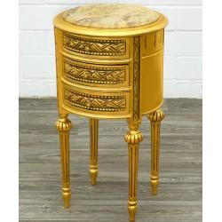 Comoda Empire din lemn masiv auriu cu furnir nuc cu blat din marmura
