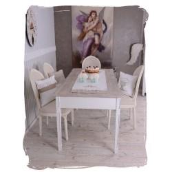 Masa rustica dining din lemn masiv alb cu blat maro