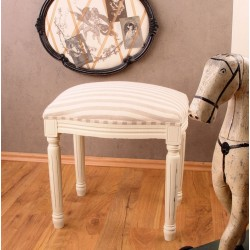 Scaunel din lemn masiv alb cu tapiterie in dungi