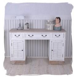 Birou rustic din lemn alb cu blat bej