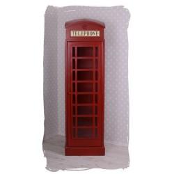 Vitruina telefonica engleza din lemn masiv maro