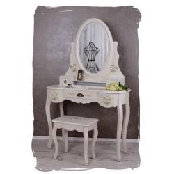 Masa de toaleta din lemn alb cu flori cu oglinda si scaune