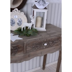 Consola bej din lemn masiv antichizat