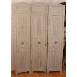 Paravan din lemn masiv alb antichizat