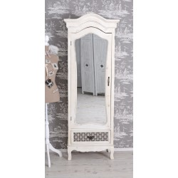 Vitrina turn din lemn alb antichizat cu sertar deosebit