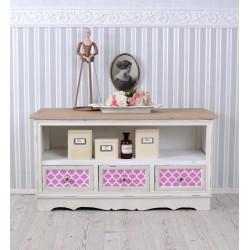 Masa tv living din lemn masiv alb cu sertare colorate