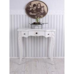 Consola din lemn masiv alba cu decoratiuni