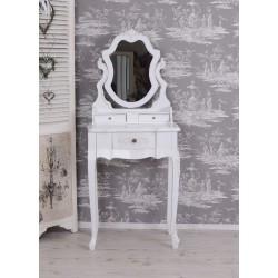 Masa toaleta din lemn masiv alb cu oglinda