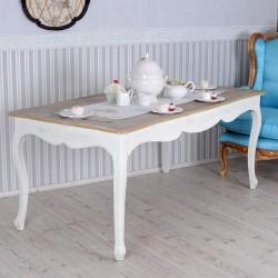 Masa dining din lemn masiv alb cu blat maro