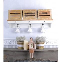 Cuier de perete din lemn masiv cu alb cu bej