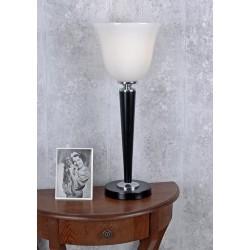 Lampa art deco din lemn si abajur din sticla