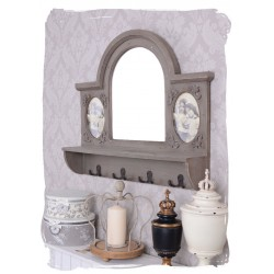 Cuier de perete din lemn masiv antichizat cu oglinda
