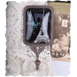 Cuier simplu din metal antichizat cu Paris
