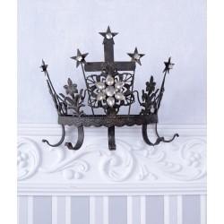 Cuier coroana din metal antichizat maro