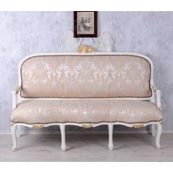 Sofa 3 locuri din lemn masiv alb si tapiterie grej