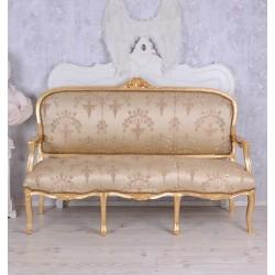 Sofa 3 locuri din lemn masiv auriu cu tapiterie bej