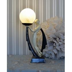 Lampa de masa Art Deco cu o femeie