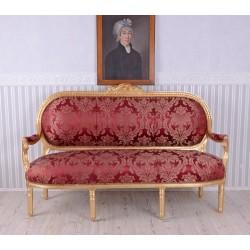 Sofa Madam Pompadour din lemn maasiv auriu cu tapiterie rosie