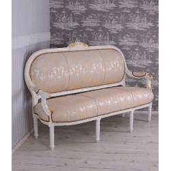 Sofa Madam Pompadour din lemn masiv grej cu tapiterie cu flori