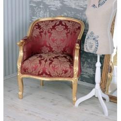 Fotoliu din lemn masiv auriu cu tapiterie rosie