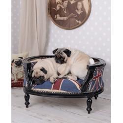 Canapea pentru caine din lemn masiv negru cu tapiterie cu Regatul Unit