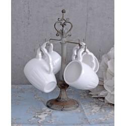 Set cafea din portelan alb cu suport din fier forjat