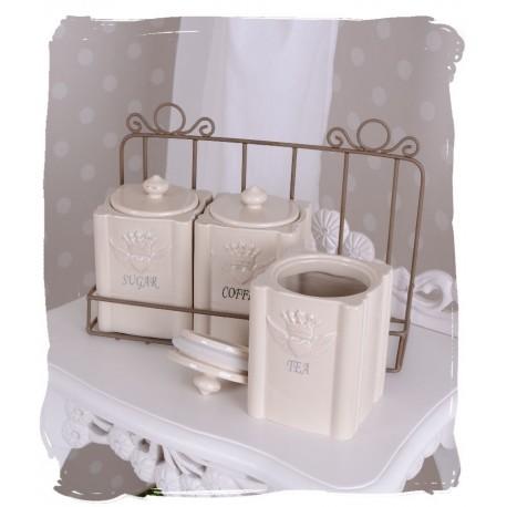 Set ceai,cafea si zahar din portelan alb cu suport
