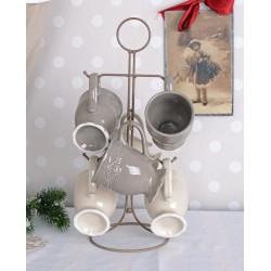 Set ceai din portelan alb cu gri cu suport din fier forjat