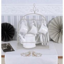 Set ceai din portelan alb cu suport din fier forjat