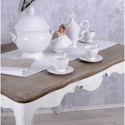 Set sase cesti cafea din portelan alb antichizat