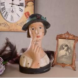 Statueta Art Deco cu un cap de femeie