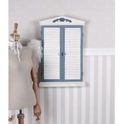 Bufet de perete din lemn masiv antichizat alb cu albastru