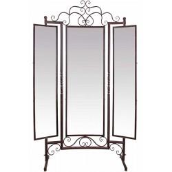 Oglinda mare din fier forjat Antik Brown cu trei zone