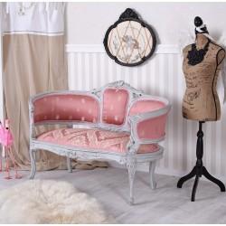 Sofa Maria Antoneta din lemn masiv gri cu tapiterie roz