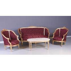 Set baroc din lemn auriu cu tapiterie de matase rosie