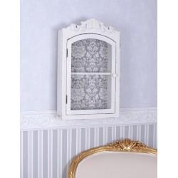 Bufet de perete din lemn masiv alb antichizat
