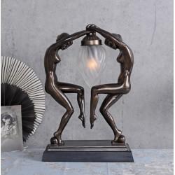 Lampa Art Deco cu doua femei cu o faclie