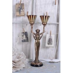 Lampa Tiffany cu o femeie cu doua becuri in mana