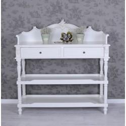 Dulap din lemn masiv alb cu decoratiuni deosebite