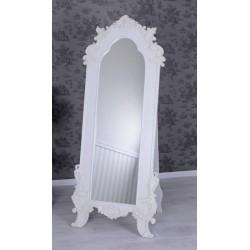 Oglinda alba din lemn masiv cu decoratiuni deosebite