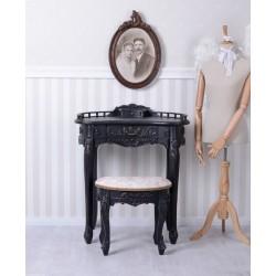 Secretaire din lemn masiv negru si scaunel